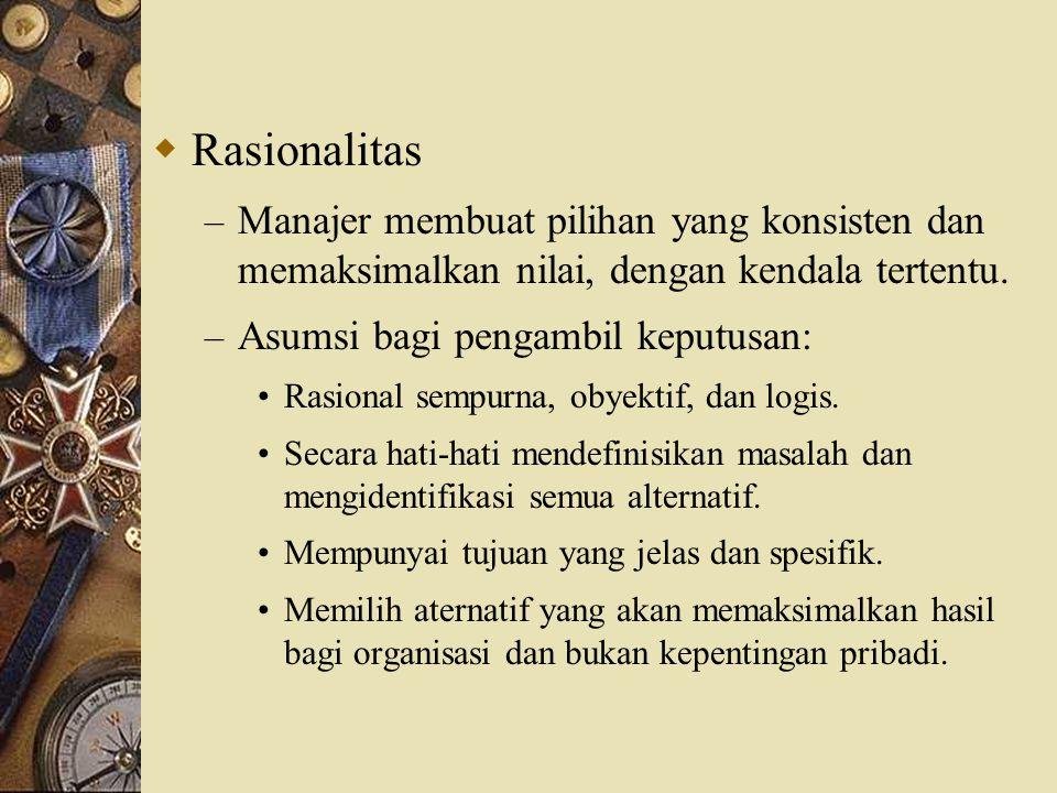 Rasionalitas Manajer membuat pilihan yang konsisten dan memaksimalkan nilai, dengan kendala tertentu.