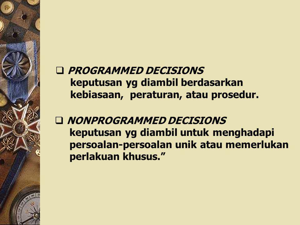 PROGRAMMED DECISIONS keputusan yg diambil berdasarkan. kebiasaan, peraturan, atau prosedur. NONPROGRAMMED DECISIONS.