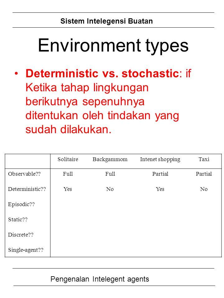 Environment types Deterministic vs. stochastic: if Ketika tahap lingkungan berikutnya sepenuhnya ditentukan oleh tindakan yang sudah dilakukan.
