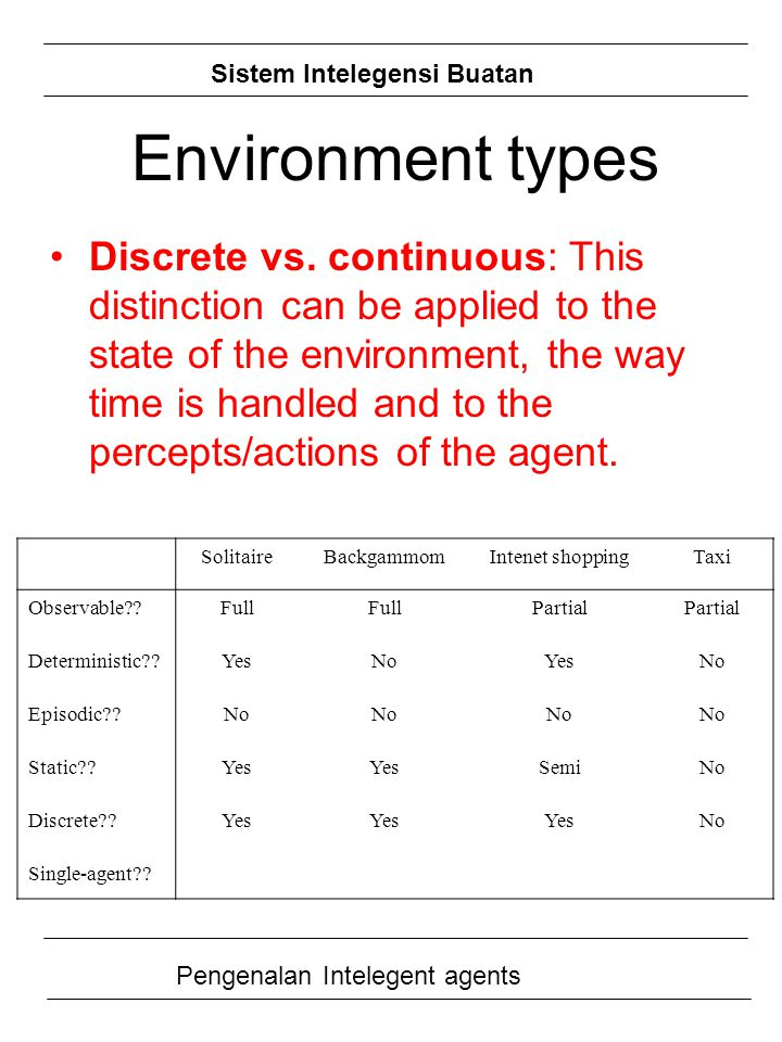 Environment types