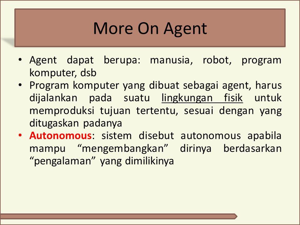More On Agent Agent dapat berupa: manusia, robot, program komputer, dsb.
