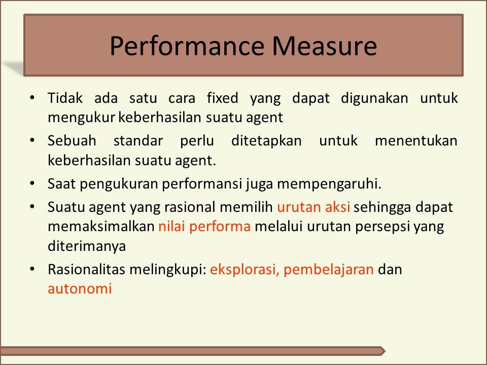 Performance Measure Tidak ada satu cara fixed yang dapat digunakan untuk mengukur keberhasilan suatu agent.
