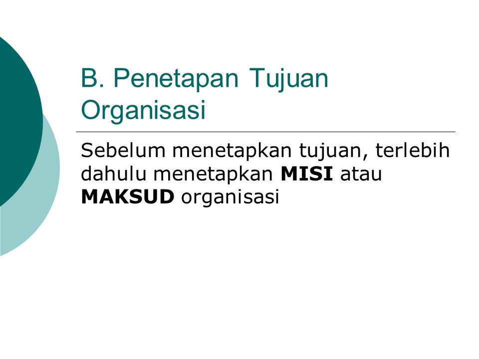 B. Penetapan Tujuan Organisasi