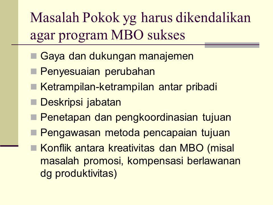 Masalah Pokok yg harus dikendalikan agar program MBO sukses