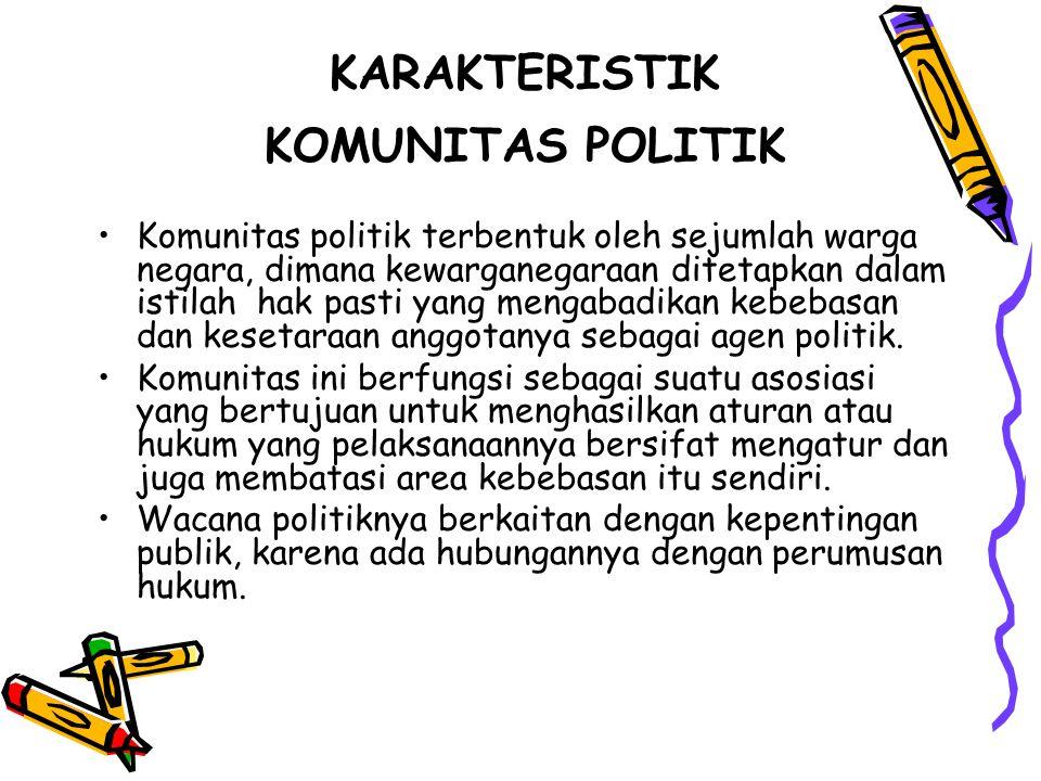 KARAKTERISTIK KOMUNITAS POLITIK