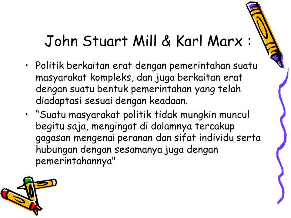 John Stuart Mill & Karl Marx :