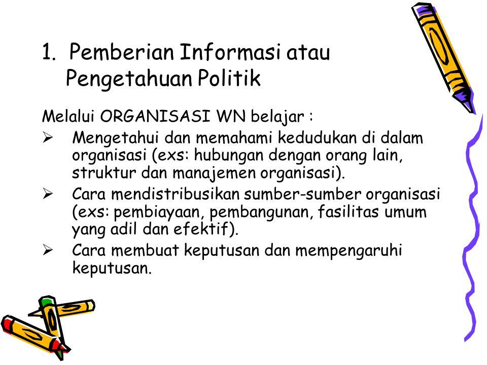 1. Pemberian Informasi atau Pengetahuan Politik