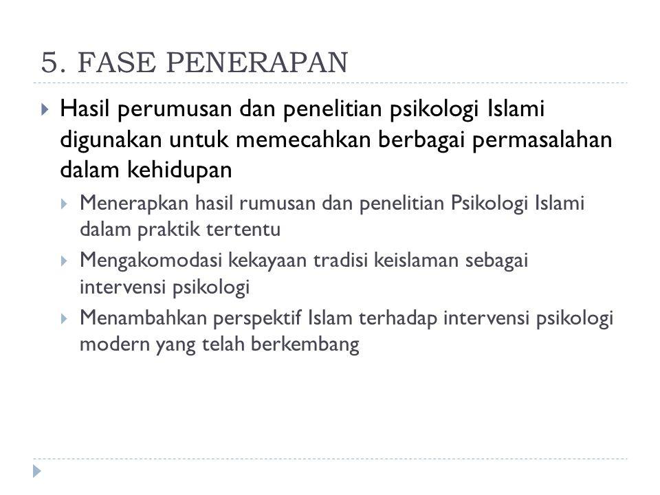 5. FASE PENERAPAN Hasil perumusan dan penelitian psikologi Islami digunakan untuk memecahkan berbagai permasalahan dalam kehidupan.
