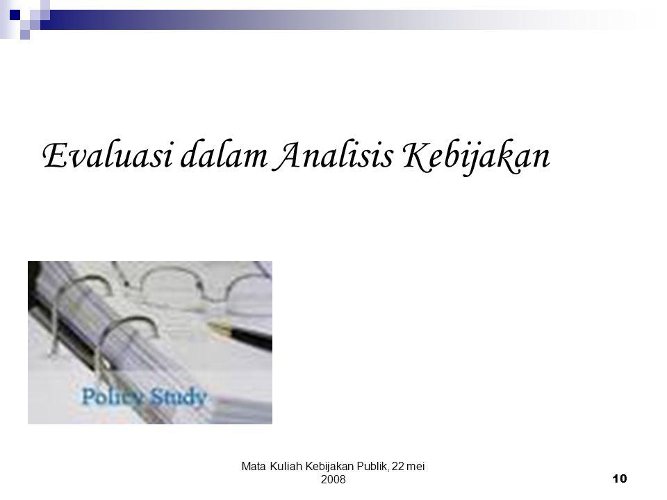 Evaluasi dalam Analisis Kebijakan