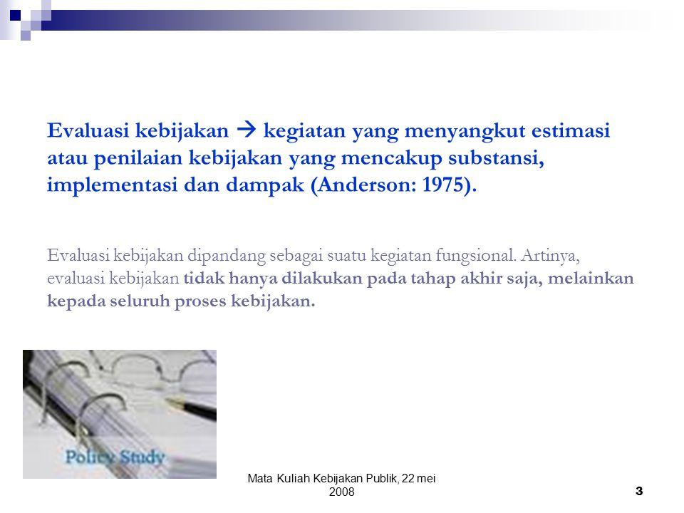 Mata Kuliah Kebijakan Publik, 22 mei 2008