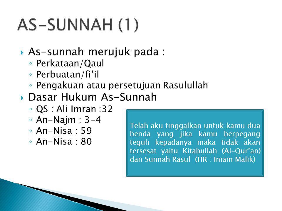 AS-SUNNAH (1) As-sunnah merujuk pada : Dasar Hukum As-Sunnah