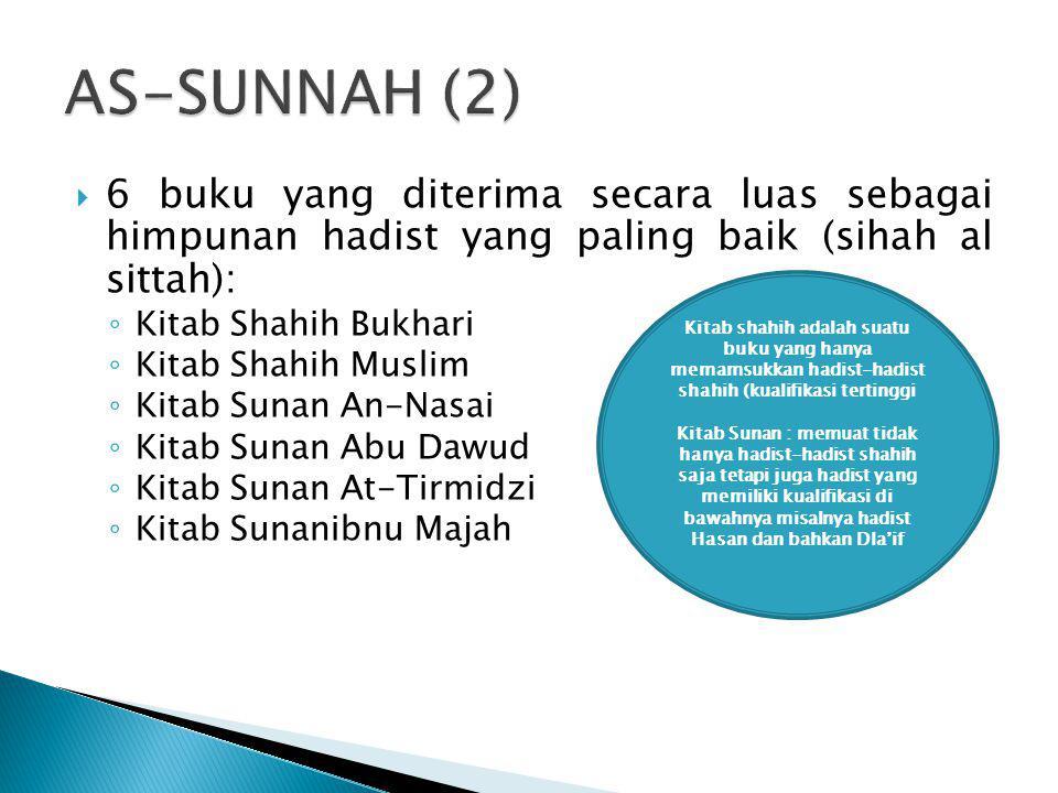 AS-SUNNAH (2) 6 buku yang diterima secara luas sebagai himpunan hadist yang paling baik (sihah al sittah):