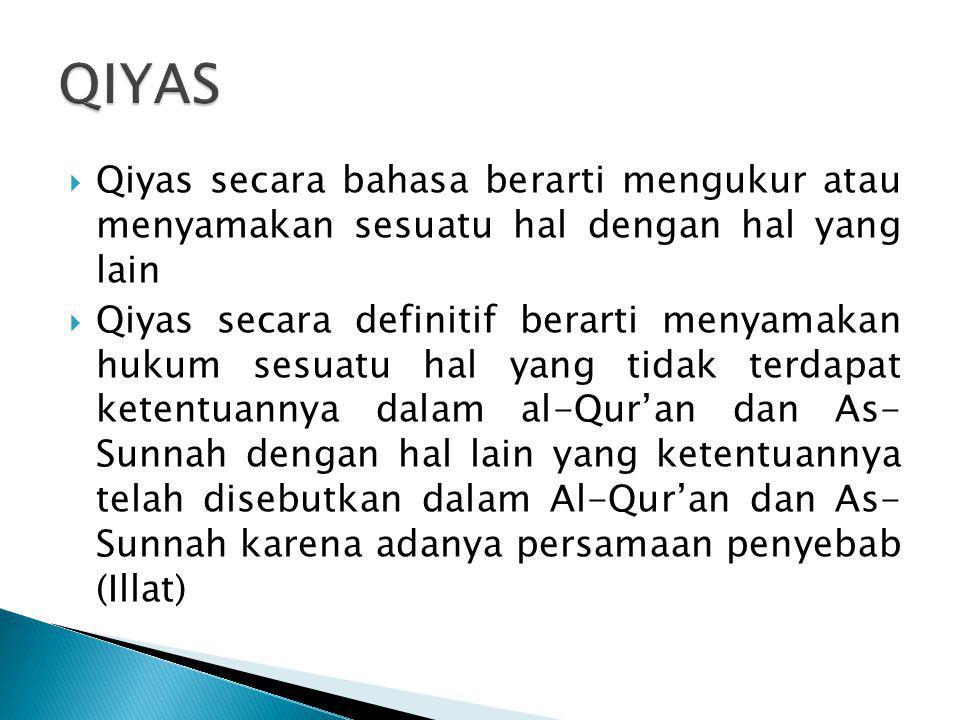 QIYAS Qiyas secara bahasa berarti mengukur atau menyamakan sesuatu hal dengan hal yang lain.