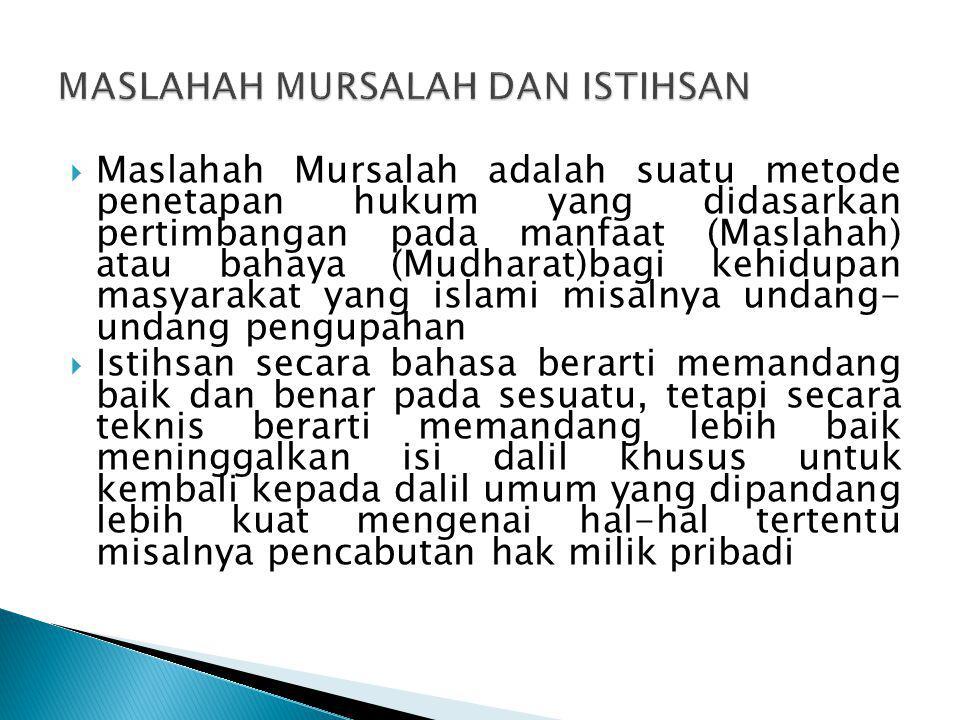 MASLAHAH MURSALAH DAN ISTIHSAN