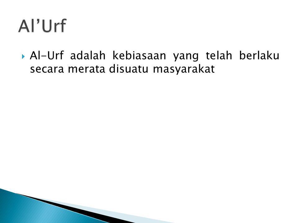 Al'Urf Al-Urf adalah kebiasaan yang telah berlaku secara merata disuatu masyarakat