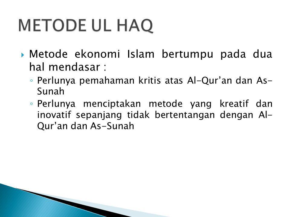 METODE UL HAQ Metode ekonomi Islam bertumpu pada dua hal mendasar :