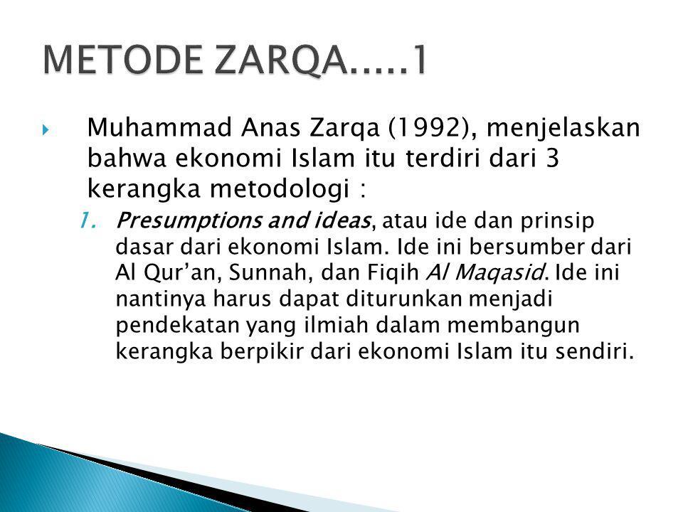 METODE ZARQA.....1 Muhammad Anas Zarqa (1992), menjelaskan bahwa ekonomi Islam itu terdiri dari 3 kerangka metodologi :