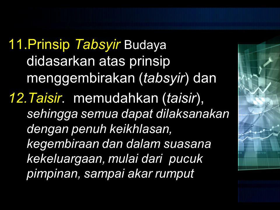 Prinsip Tabsyir Budaya didasarkan atas prinsip menggembirakan (tabsyir) dan