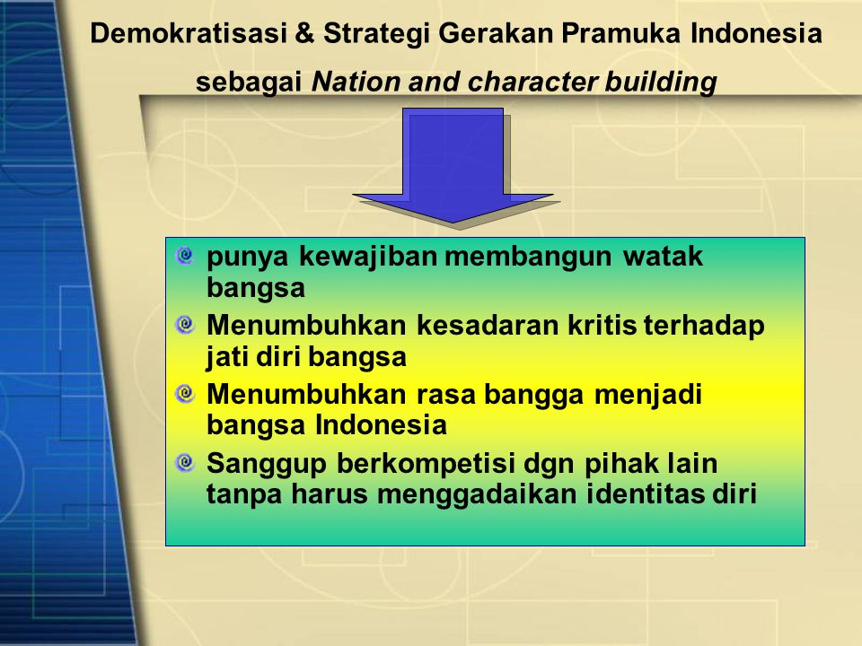 Demokratisasi & Strategi Gerakan Pramuka Indonesia sebagai Nation and character building