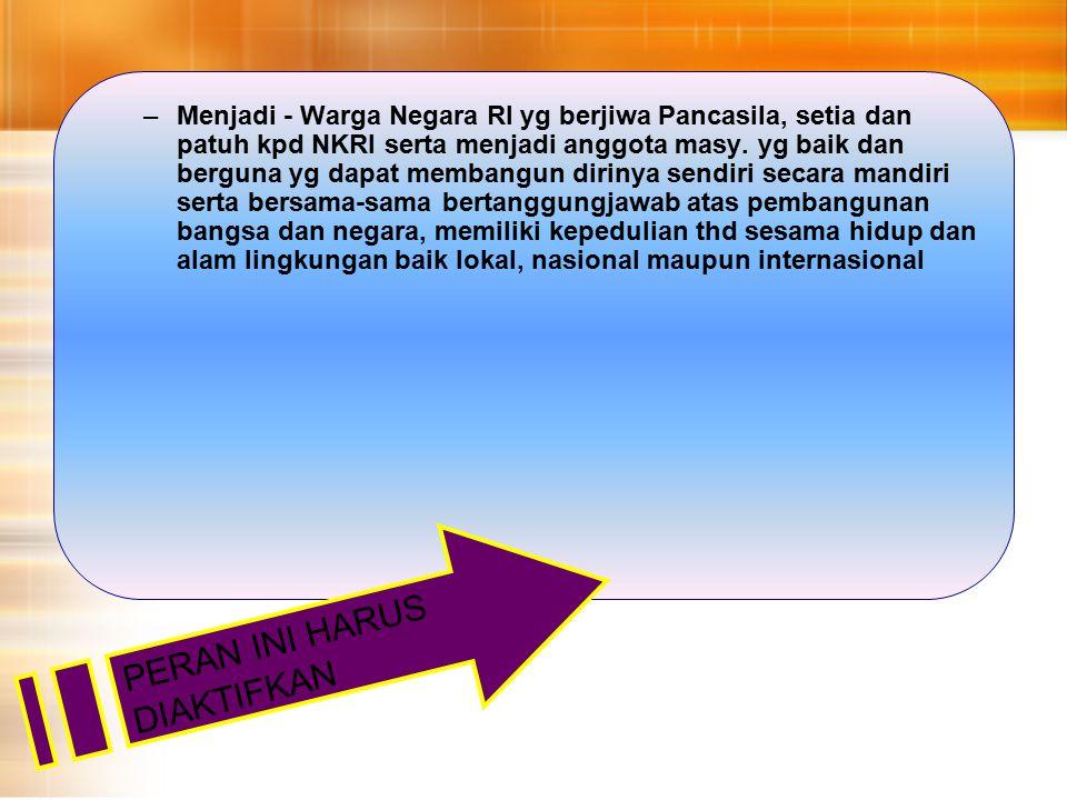 Menjadi - Warga Negara RI yg berjiwa Pancasila, setia dan patuh kpd NKRI serta menjadi anggota masy.