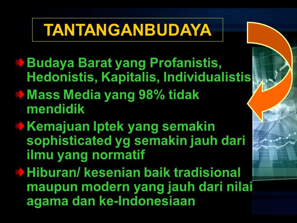 TANTANGANBUDAYA Budaya Barat yang Profanistis, Hedonistis, Kapitalis, Individualistis. Mass Media yang 98% tidak mendidik.