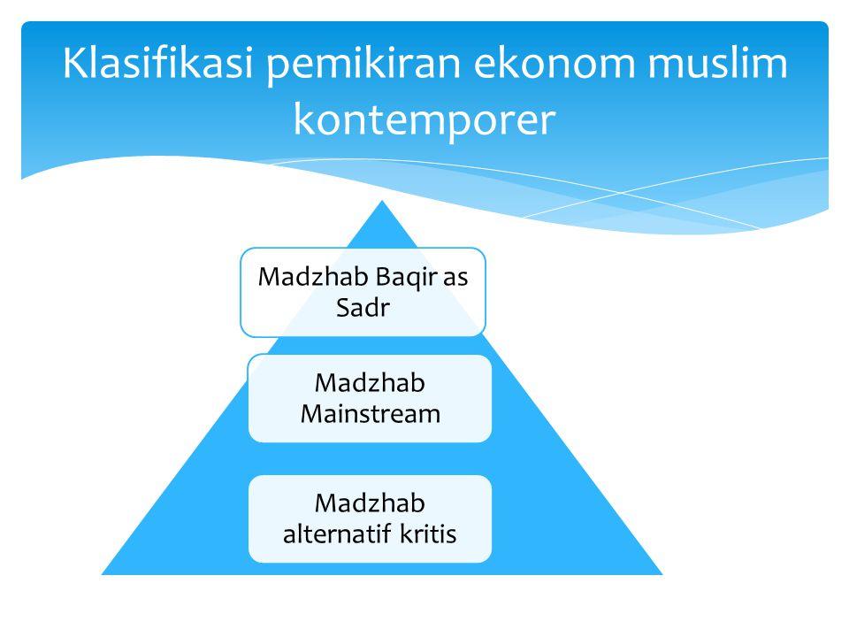 Klasifikasi pemikiran ekonom muslim kontemporer