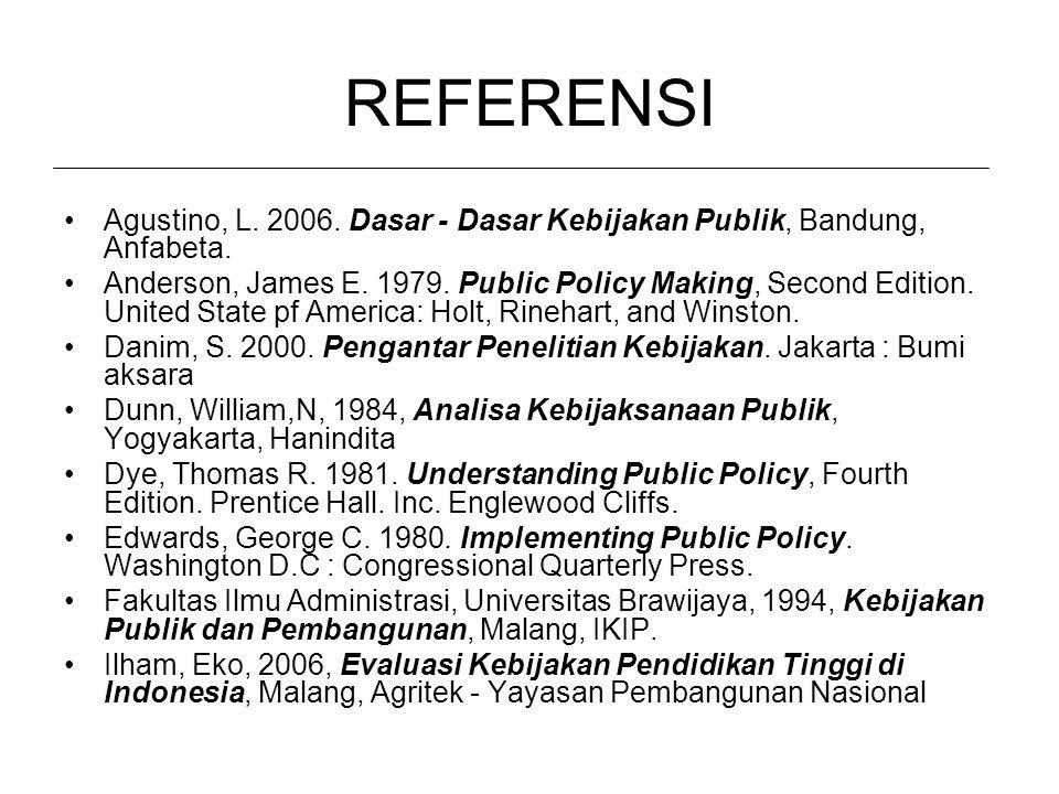 REFERENSI Agustino, L. 2006. Dasar - Dasar Kebijakan Publik, Bandung, Anfabeta.