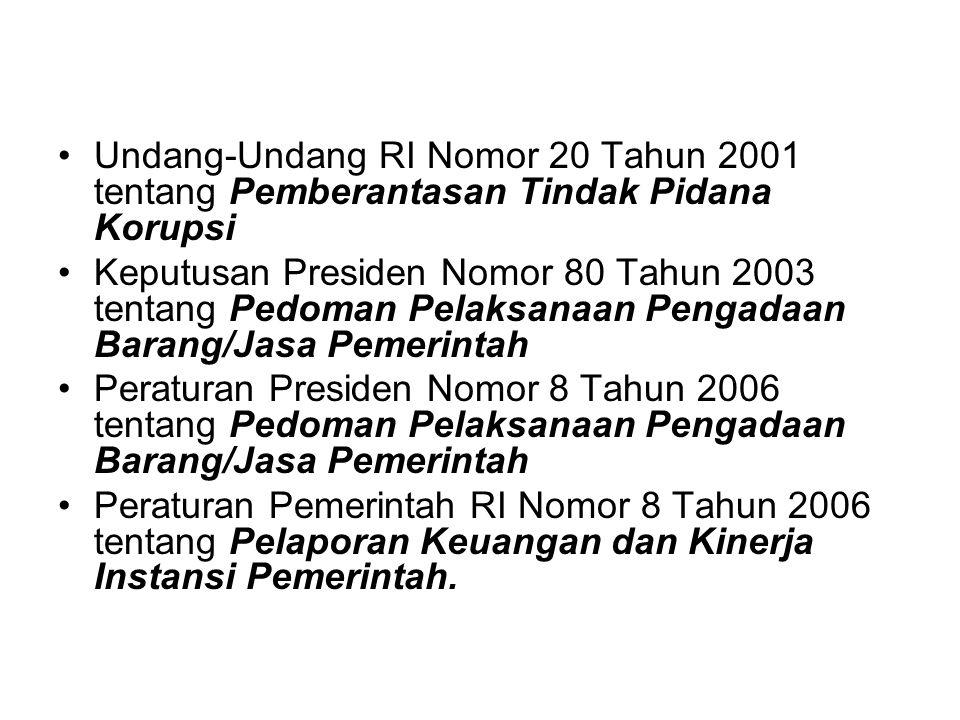 Undang-Undang RI Nomor 20 Tahun 2001 tentang Pemberantasan Tindak Pidana Korupsi