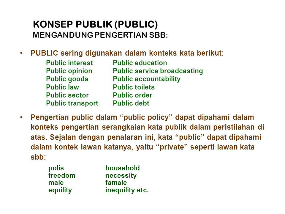 KONSEP PUBLIK (PUBLIC) MENGANDUNG PENGERTIAN SBB: