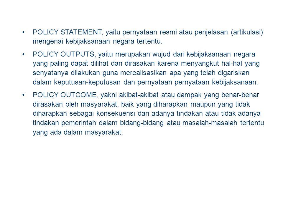 POLICY STATEMENT, yaitu pernyataan resmi atau penjelasan (artikulasi) mengenai kebijaksanaan negara tertentu.