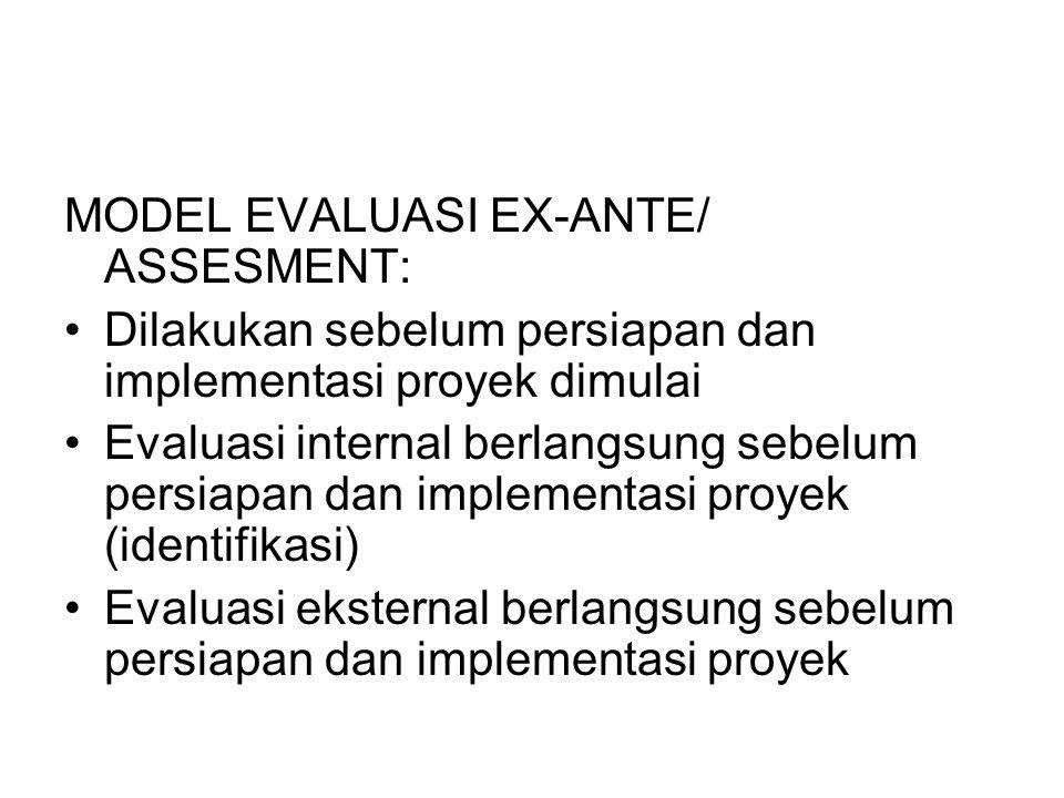 MODEL EVALUASI EX-ANTE/ ASSESMENT: