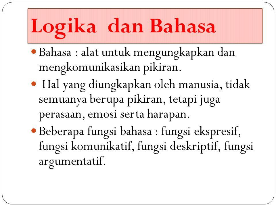 Logika dan Bahasa Bahasa : alat untuk mengungkapkan dan mengkomunikasikan pikiran.