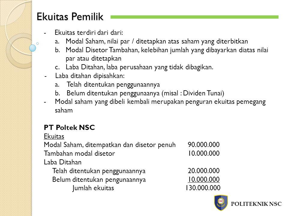 Ekuitas Pemilik Ekuitas terdiri dari dari: