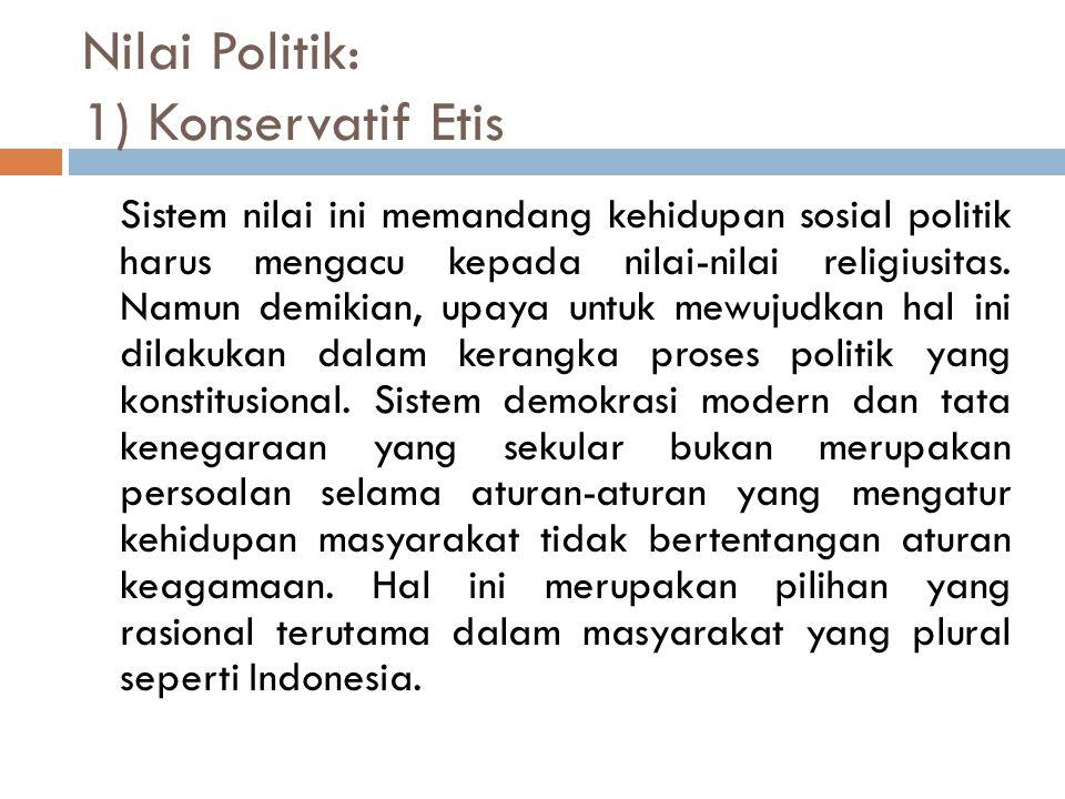 Nilai Politik: 1) Konservatif Etis