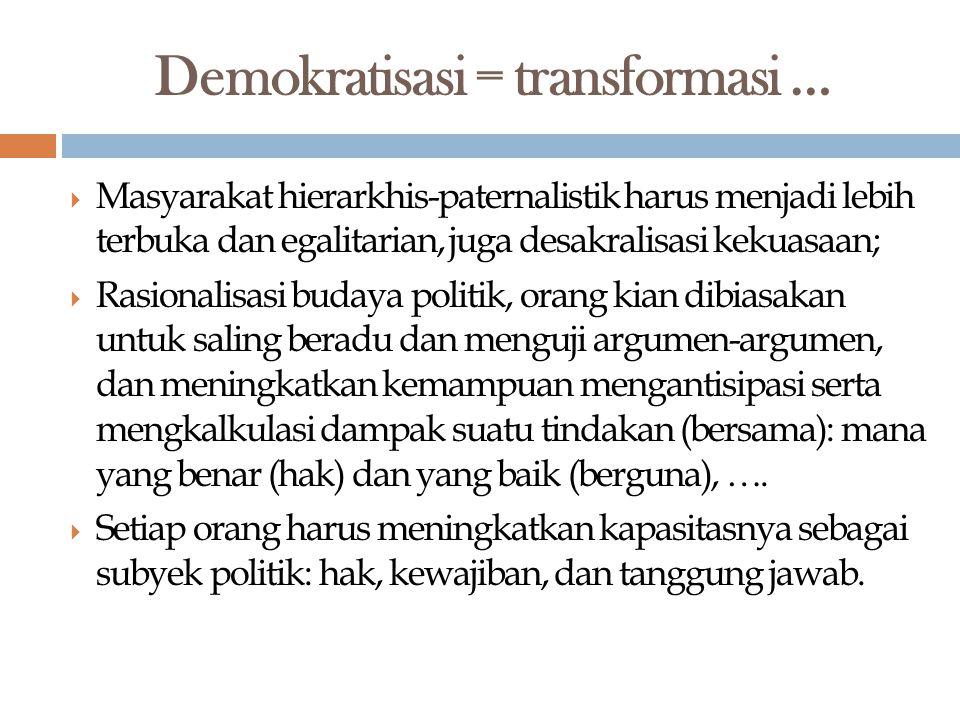 Demokratisasi = transformasi …
