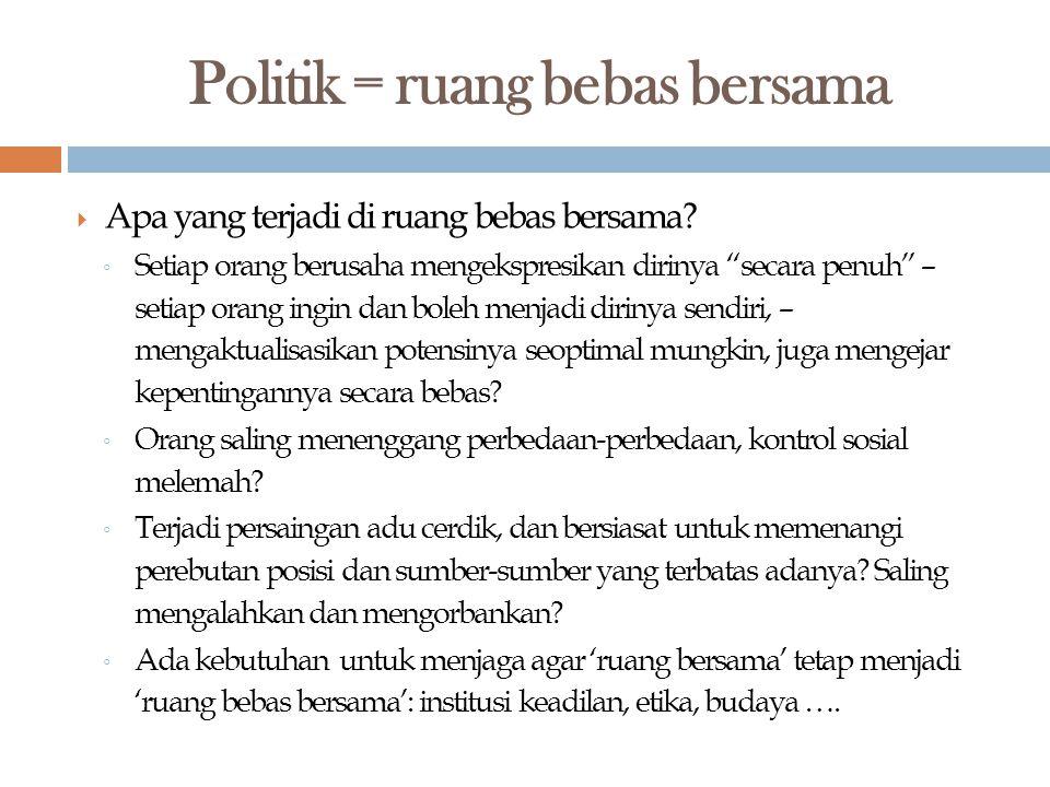 Politik = ruang bebas bersama