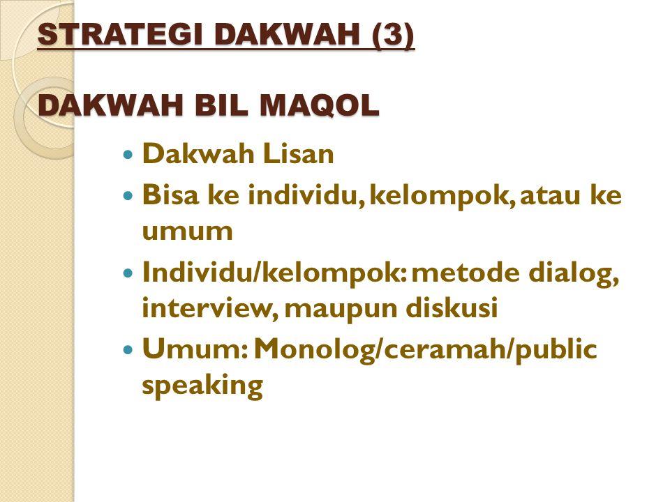 STRATEGI DAKWAH (3) DAKWAH BIL MAQOL