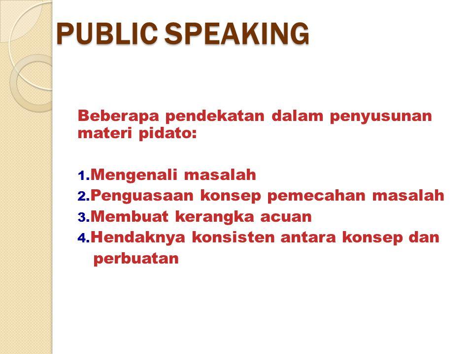 PUBLIC SPEAKING Beberapa pendekatan dalam penyusunan materi pidato: