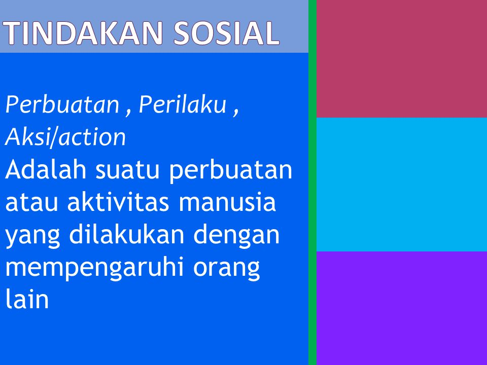 Tindakan sosial Perbuatan , Perilaku , Aksi/action