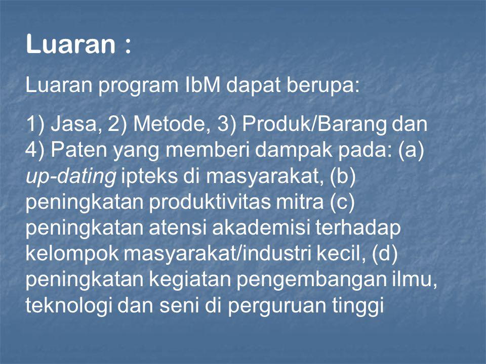 Luaran : Luaran program IbM dapat berupa: