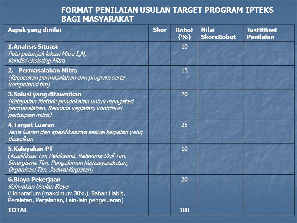 FORMAT PENILAIAN USULAN TARGET PROGRAM IPTEKS BAGI MASYARAKAT
