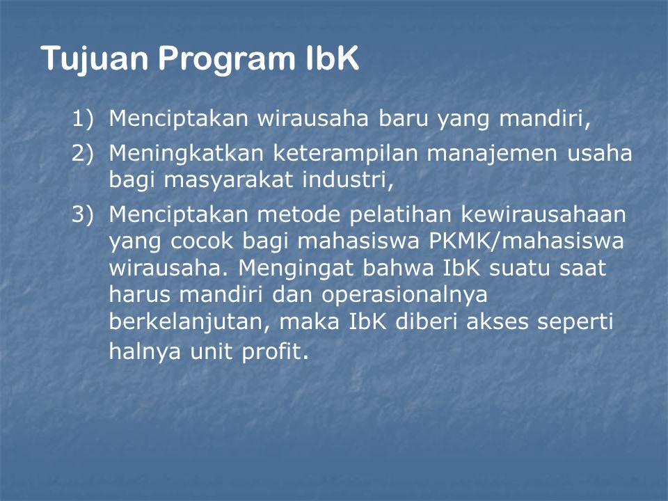 Tujuan Program IbK Menciptakan wirausaha baru yang mandiri,