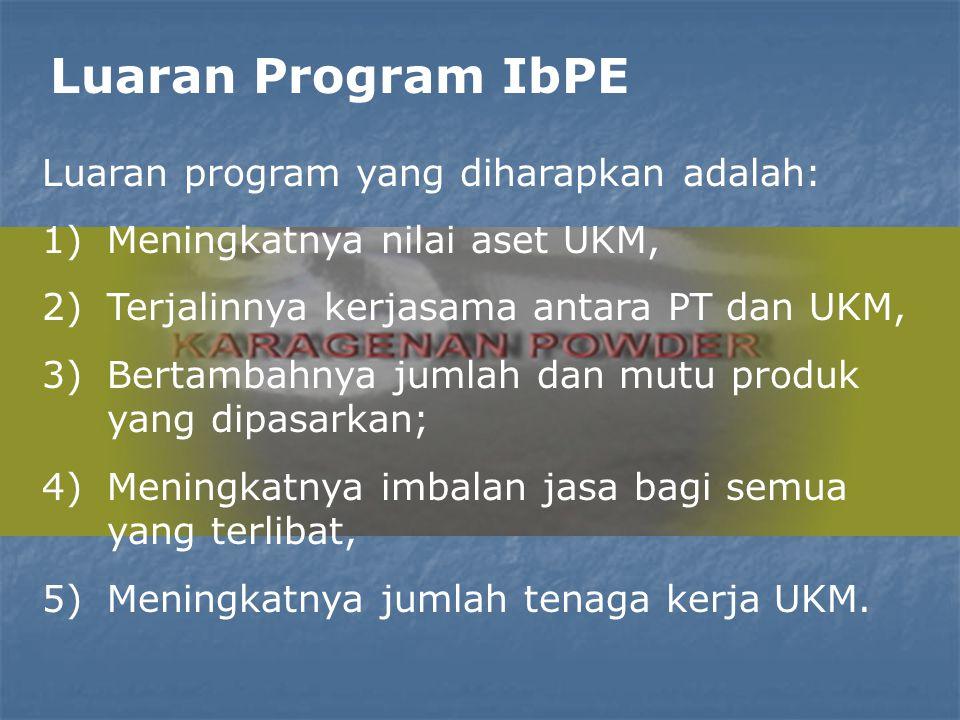 Luaran Program IbPE Luaran program yang diharapkan adalah: