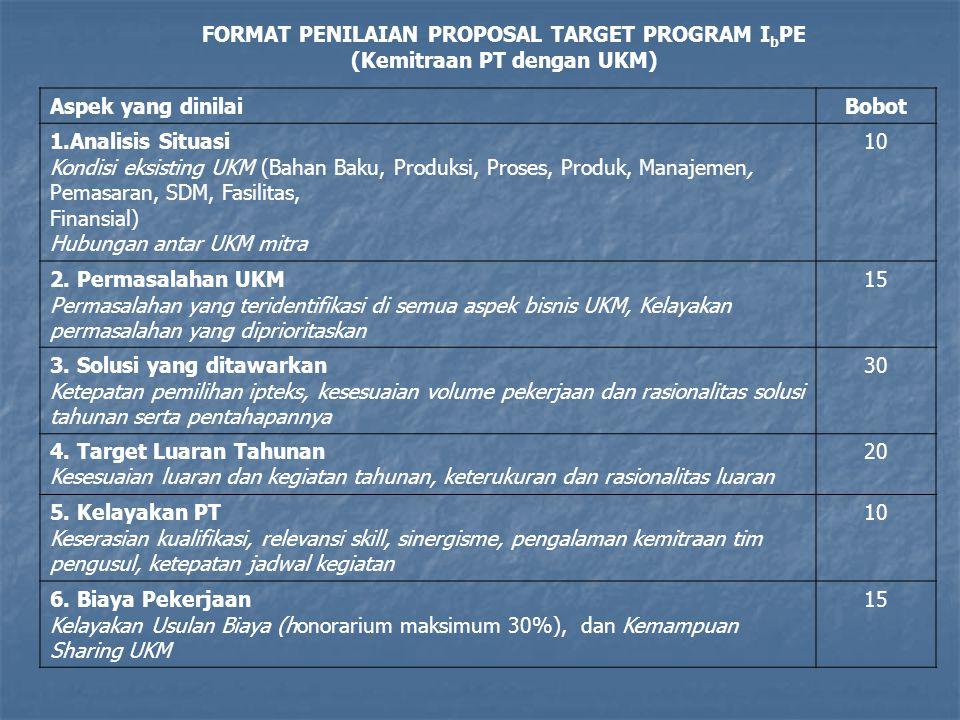 FORMAT PENILAIAN PROPOSAL TARGET PROGRAM IbPE