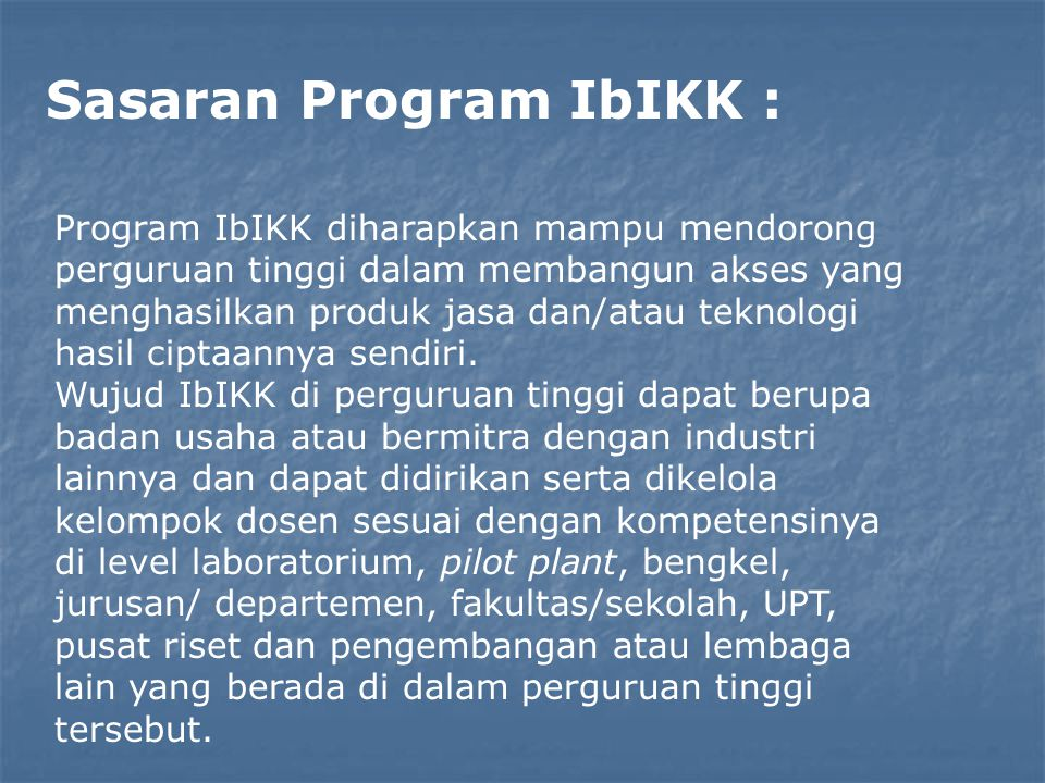 Sasaran Program IbIKK :