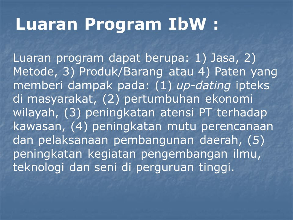 Luaran Program IbW :