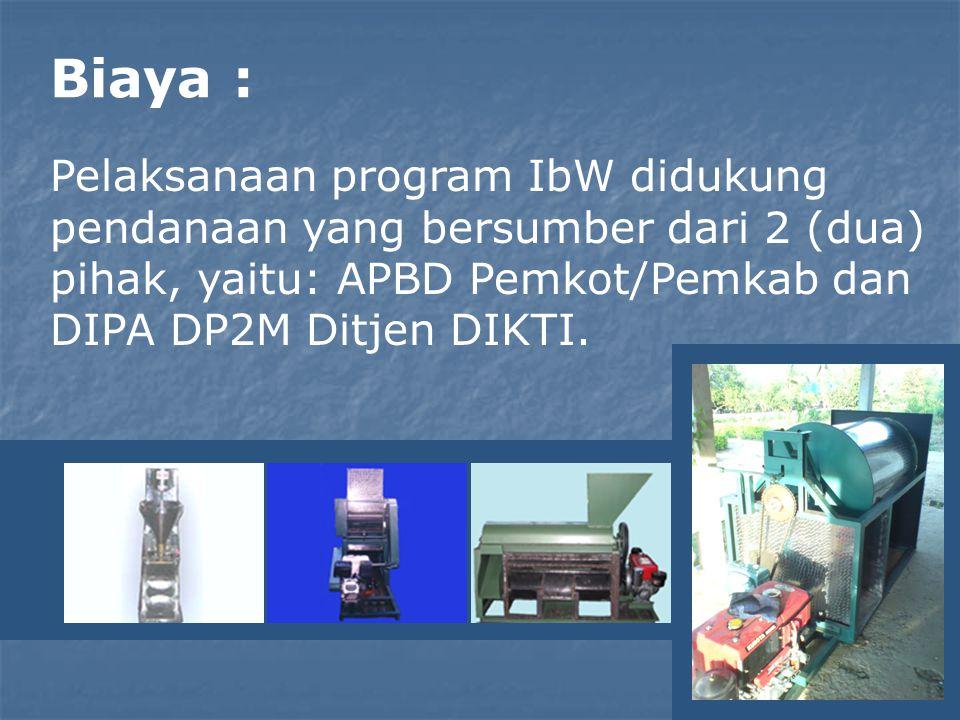 Biaya : Pelaksanaan program IbW didukung pendanaan yang bersumber dari 2 (dua) pihak, yaitu: APBD Pemkot/Pemkab dan DIPA DP2M Ditjen DIKTI.