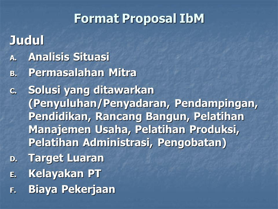 Format Proposal IbM Judul Analisis Situasi Permasalahan Mitra