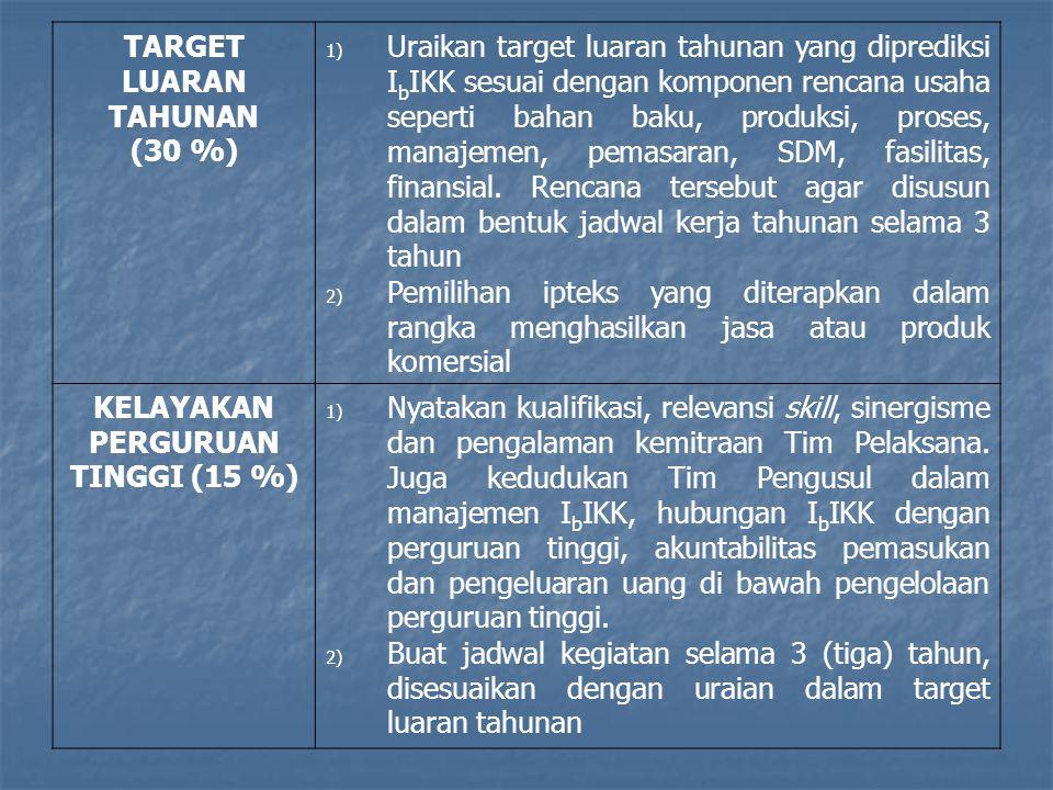KELAYAKAN PERGURUAN TINGGI (15 %)