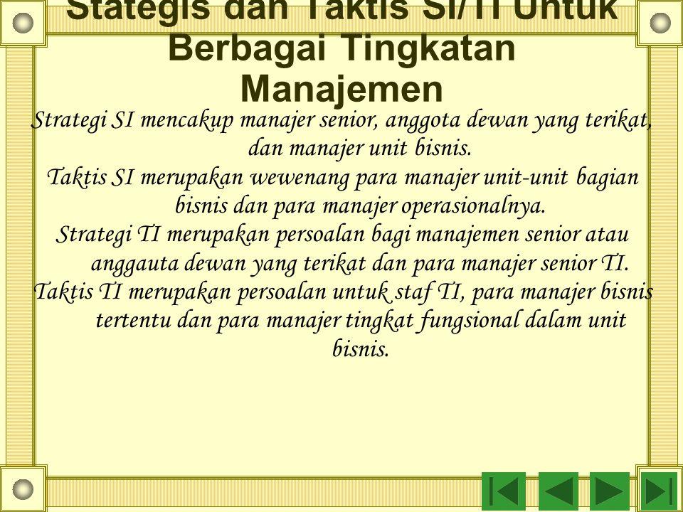 Stategis dan Taktis SI/TI Untuk Berbagai Tingkatan Manajemen